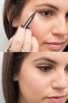 Eyeliner Hacks To Transform Your Beauty Routine Never let your winged liner make you late again: 22 eyeliner hacks to try now.Never let your winged liner make you late again: 22 eyeliner hacks to try now. Eyeliner Hacks, How To Apply Eyeliner, No Eyeliner Makeup, Skin Makeup, Makeup Hacks, Applying Eyeliner, Top Eyeliner, Eyeliner Tape, Makeup Routine