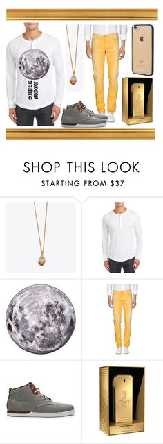 """""""Citrine (crystal junkie) men's wear"""" by hinokodaily ❤ liked on Polyvore featuring Crystal and Sage, Original Penguin, Seletti, PT05, Creative Recreation, Paco Rabanne, Incase, men's fashion and menswear"""