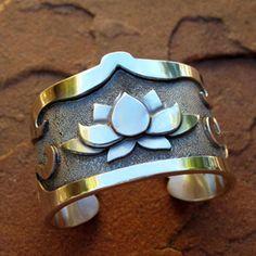Silver Cuff   ✤ Goddess Kuan Yin with Lotus ✤