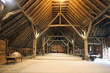 Grange Barn, Coggeshall, Colchester, England, originally part of the Cistercian monastery. Dendrochronologically dated (by tree ring in boards) from 1237–1269, it was restored in the 1980s by the Coggeshall Grange Barn Trust, Braintree District Council and Essex County Council.