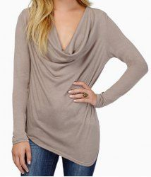 Stylish Cowl Neck Long Sleeve Solid Color Women's T-Shirt