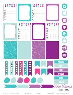 A set of planner stickers for your personal planning needs designed in a purple and teal color scheme. Free pdf printable for personal use only.