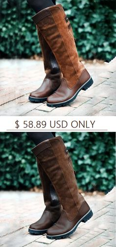8086e66d87 Women Non-slip Outdoor Boots Waterproof Low Heel Paneled Boots