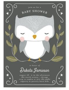 This Animal Themed Baby Shower Invitation Features A Sweet Hand-drawn Owl. Grey Baby Shower Invitations From Minted By Independent Artist Lehan Veenker. Baby Shower Thank You, Baby Shower Favors, Baby Shower Parties, Baby Shower Themes, Baby Shower Invitations, Baby Showers, Shower Ideas, Shower Tips, Grey Baby Shower