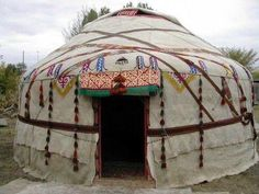 Camping season Part Yurts.A traditional yurt (from the Turkic languages) or ger (Mongolian) is a portable, round tent covered with skins or felt and used as a dwelling by nomads in the steppes of Central Asia. Yurt Living, Outdoor Living, Glamping, Gypsy Caravan, Boho Home, Bohemian Homes, Gypsy Life, Earth Homes, Central Asia