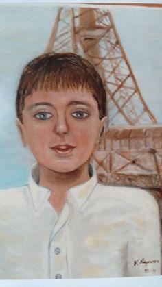 Nuestro hijo Sergio, cuando pasamos por París. Óleo sobre lienzo año 1998 por Javier Vega Regueiro.