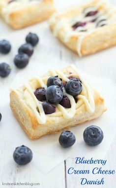 Blueberry Cream Cheese Danish - easy recipe to make with puff pastry and a Greek yogurt and cream cheese filling!