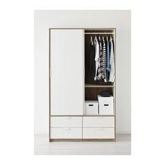 IKEA TRYSIL wardrobe w sliding drawers Smooth running drawers with pull-out stop. Ikea Wardrobe Closet, Ikea Wardrobe Storage, Wardrobe Design Bedroom, White Wardrobe, Built In Wardrobe, Closet Bedroom, Ikea Trysil, Free Standing Wardrobe, Armoire Ikea