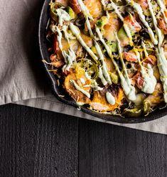 Sweet Potato Skillet Nachos with Avocado Crema — The Whole Bite