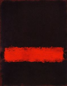 Mark Rothko This piece is a black background with an off center red stripe. My…