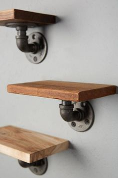 Industrial Rustic Iron Pipe 3 Piece Shelf Set @ ETSY Likely lot more Mar 19 Industrial Pipe Shelves, Industrial Design Furniture, Industrial House, Diy Pipe Shelves, Galvanized Pipe Shelves, Rustic Industrial Bedroom, Industrial Closet, Shelves With Pipes, Plumbing Pipe Shelves