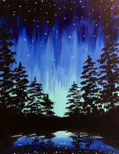 Aurora Through the Trees The night sky is filled with the bright lights of the Aurora Borealis. Slender evergreens stand against a sky full of stars. Below, a tranquil pond catches every little detail and color in its reflection. Join us to paint this tranquil scene today!