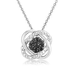 $14.99 - Black Diamond Accent and Sterling Silver Knot Pendant