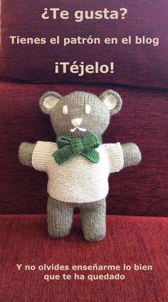 Two-needle knitted bear pattern / Free pattern tricot bear. rnrnSource by Knitted Dolls, Crochet Toys, Knit Crochet, Knitting For Kids, Knitting Toys, Free Pattern, Knitting Patterns, Diy And Crafts, Teddy Bear