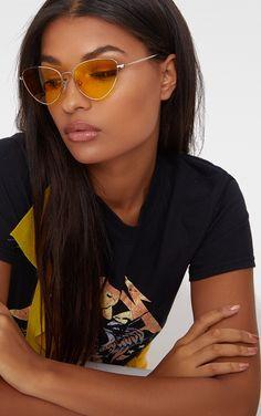 Gold Oval Metal Frame Retro Sunglasses Pretty Little Thing BQv3d7B