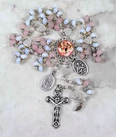 Pregnancy Childbirth Protection St Gerard,Holy Family,Guardian Angel Pink Jade,Opalite Rosary