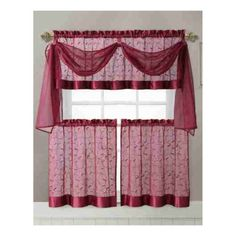 Vine Embroidered Kitchen Window Curtain Set- 1 Valance with Voile Scarf, 2 Tier Panels (Burgundy) Victoria Classics http://www.amazon.com/dp/B00COO6COS/ref=cm_sw_r_pi_dp_3II6ub00BJZS4