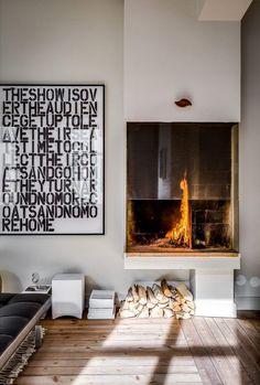 Inspiring home in Stockholm Interior Trim, Modern Interior, Interior And Exterior, Interior Design, Design Interiors, Modern Fireplace, Fireplace Design, Stove Fireplace, Modern Stoves