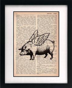 pig print  pig art print  vintage by littlebluebirdstudios on Etsy, $10.00
