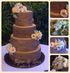 Carved Tree Wedding Cake i love the idea just would want it to look more real looking! Chocolate Brown Wedding, Brown Wedding Cakes, Wedding Cake Inspiration, Wedding Ideas, Forest Cake, Tree Carving, My Perfect Wedding, Cupcake Cakes, Cupcake Ideas