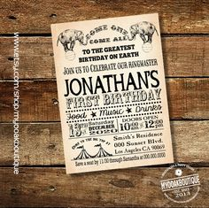 Circus invitation birthday party invite circus vintage carnival digital printable invitation 14070 by myooakboutique on Etsy