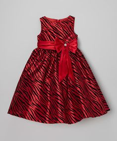 Look what I found on #zulily! Red Zebra Bow A-Line Dress - Toddler & Girls #zulilyfinds