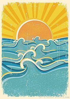 Sea waves and yellow sun