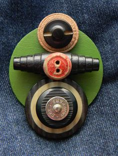 Art+Assemblage+Brooch++++Red+Button++++Found+Object+by+redhardwick,+$15.00
