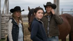 10 x 14 Amy Georgie and Scott with the horse from the trailer Canada: NEW episode Sunday, Feb 19 - Heartland