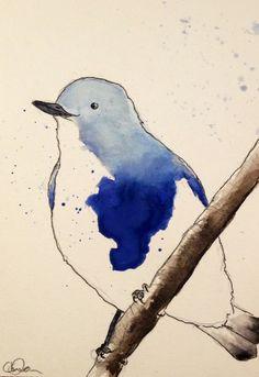 Someone looks pleased! Original water colour cute bird illustration.
