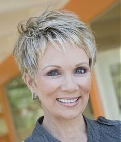 A short blonde straight coloured multi-tonal choppy mature Womens haircut hairstyle by Mature Web Collection by tanya