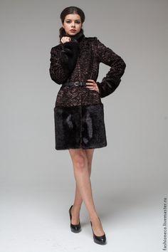 Верхняя одежда ручной работы. Ярмарка Мастеров - ручная работа. Купить А017. Шуба из искусственного меха под каракуль и норку. Handmade.