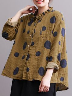 Casual Polka Dot Print Stand Collar Loose Women Blouses Cheap - NewChic Mobile