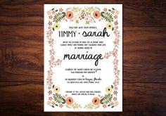 Organically Yours // Floral Summer Wedding Invitation for Garden Weddings, Bohemian Weddings
