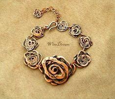 Copper Necklace, Copper Jewelry, Wire Jewelry, Jewelry Art, Beaded Jewelry, Handmade Jewelry, Jewelry Ideas, Link Bracelets, Jewelry Bracelets