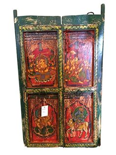 Indian Window- Hand Carved Green Red Four Form of Ganesha Painted Antique Wall Decor Mogul Interior http://www.amazon.com/dp/B00PN6NX3M/ref=cm_sw_r_pi_dp_Q8cWub0JDC78V