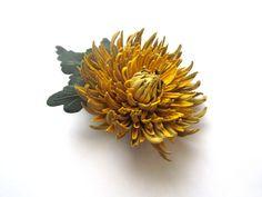 Genuine leather flower brooch in yellow, Brooch in yellow, Handmade flower brooch, Mother of the bride flower, Leather flower, Mothers Day on Etsy, $40.35