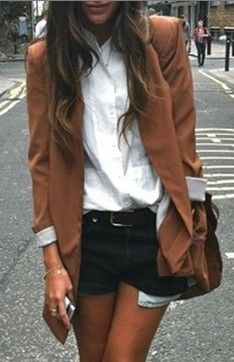 Dark denim shorts. White button down. Blazer. Amazing. #fashion #yourpinswelove