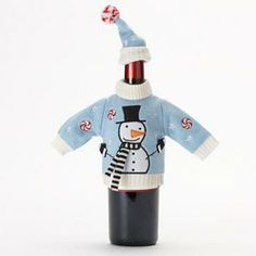 Food Network Christmas Knit Snowman Sweater Wine Bottle Cover #CookWithKohls