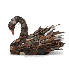 Large-scale black swan mixed media sculpture constructed from rescued materials. Industrial/steampunk found object bird art assemblage by artist Dolan Geiman.