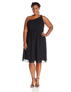 Donna Morgan Women's Plus-Size One Shoulder Rhea Dress, Black, 18W