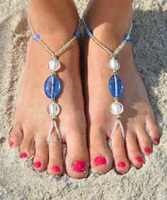 Beaded Bearfoot Sandals in Blue and Pearl