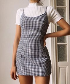 summer fashion spring style ootd outfit plaid dress gingham casual ribbed tshirt - The world's most private search engine Fashion Wear, Look Fashion, Fashion Outfits, Fashion Trends, Fashion Spring, Ootd Spring, Dress Fashion, Tumblr Fashion, 90s Girl Fashion