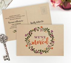 A7 I/'m on the move personalized change of address cards PRINTED  Pink bicycle new home card with envelope