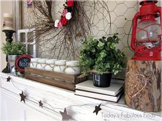 valentine mantel: Carved heart on stump is too cute!