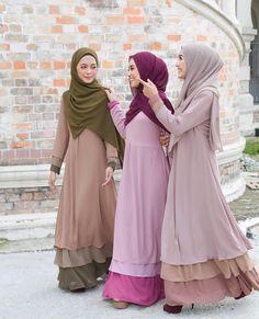 Hijab Fashion 2016, Frock Fashion, Abaya Fashion, Fashion Dresses, Womens Fashion, Islamic Fashion, Muslim Fashion, Small Girls Dress, Hijab Style Dress