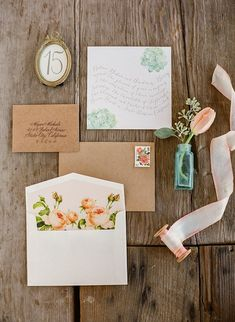 Stationery stamps thank you cards in brown and pink with a touch of green