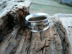 """""""Believe""""  Rustic SS Spinner Ring  Size 7.75 by barbmallonjewelry, Sale!  $45.50"""