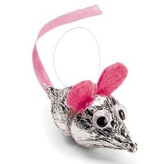 DIY ~ Mice Ornaments made with Hersheys Kisses.@Melissa Squires Squires Collins - ok, now this could be for kids at school - ..not a creature was stirring, not even....OH MY - FOR WORK!! LOLOLOL!!!!