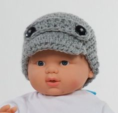 Baby HAT. Crochet Hat. Baby Boy. New born photo. GRAY hat with two black buttons.